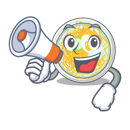 With megaphone naengmyeon served on a mascot board vector illustration