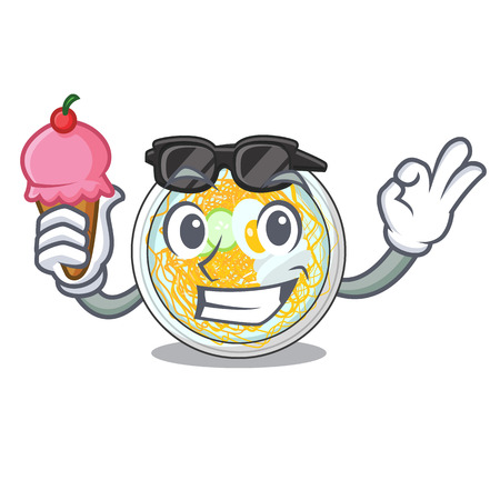 With ice cream naengmyeon is served in cartoon bowl vector illustration Ilustração