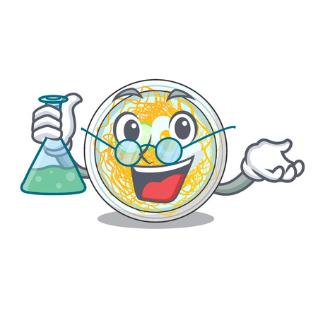 Professor naengmyeon is served in cartoon bowl vector illustration Ilustração