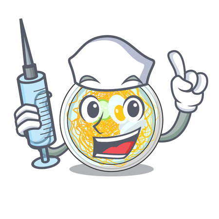 Nurse naengmyeon is served in cartoon bowl vector illustration