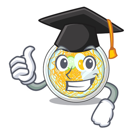 Graduation naengmyeon is served in cartoon bowl vector illustration