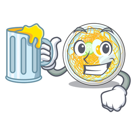 With juice naengmyeon isolated with in the character vector illustration