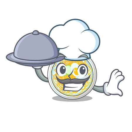 Chef with food naengmyeon isolated with in the character vector illustration