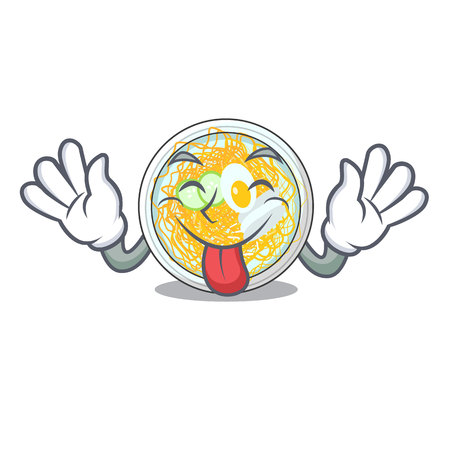Tongue out naengmyeon in the a shape cartoon vector illustration
