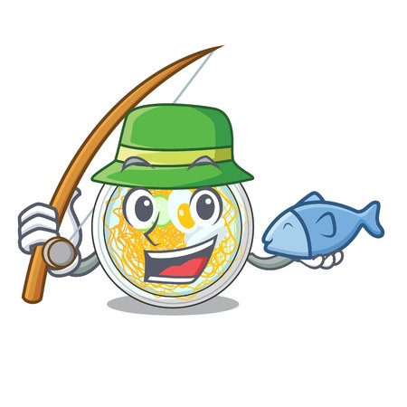 Fishing naengmyeon isolated with in the character vector illustration Ilustração