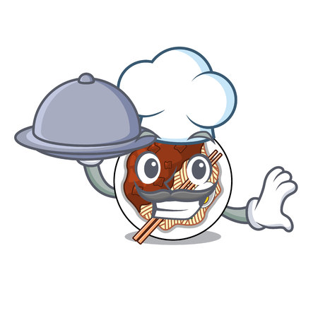 Chef with food jajangmyeon is placed in mascot bowl vector illustration Ilustração