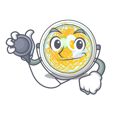 Doctor naengmyeon served on a mascot board vector illustration Vettoriali