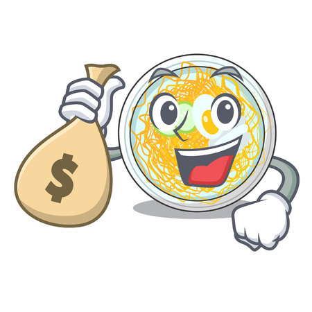 With money bag naengmyeon served on a mascot board vector illustration