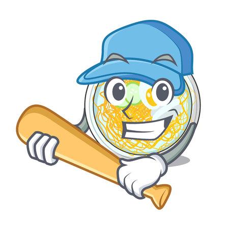 Playing baseball naengmyeon served on a mascot board vector illustration Ilustração