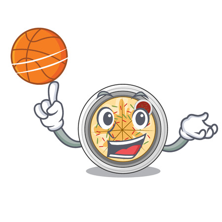 With basketball naengmyeon served on a mascot board vector illustration