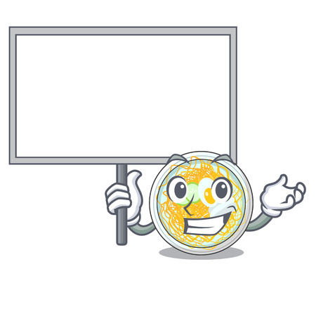 Bring board naengmyeon served on a mascot board vector illustration