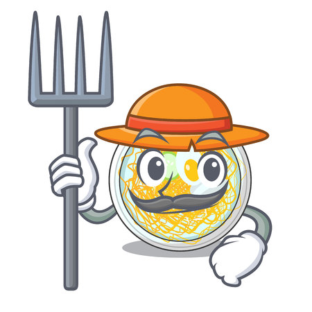 Farmer naengmyeon served on a mascot board vector illustration