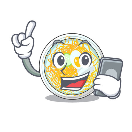 With phone naengmyeon served on a mascot board vector illustration