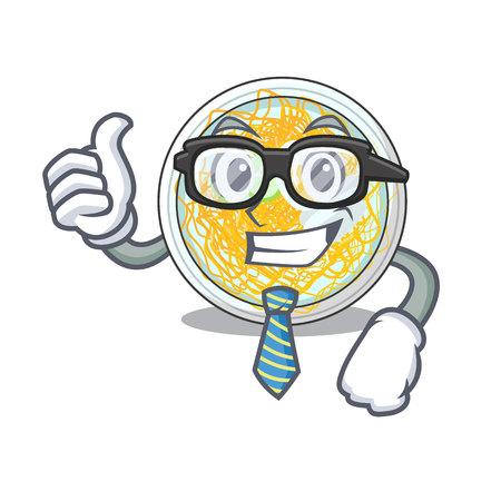 Businessman naengmyeon is served in cartoon bowl vector illustration Ilustração