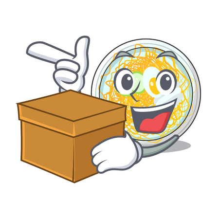 With box naengmyeon is served in cartoon bowl vector illustration Ilustração