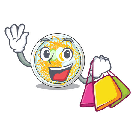 Shopping naengmyeon is served in cartoon bowl vector illustration
