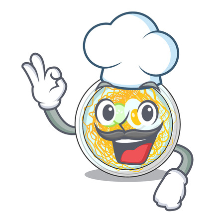 Chef naengmyeon is served in cartoon bowl vector illustration