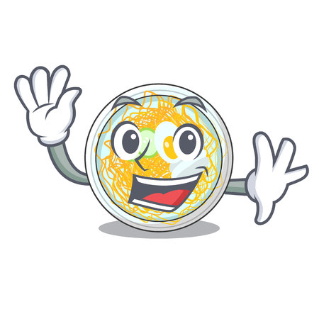 Waving naengmyeon is served in cartoon bowl vector illustration