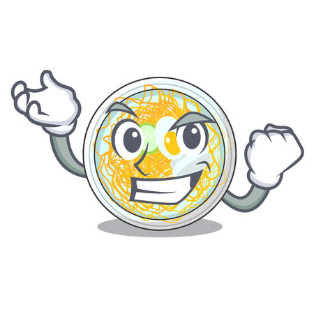 Successful naengmyeon is served in cartoon bowl vector illustration