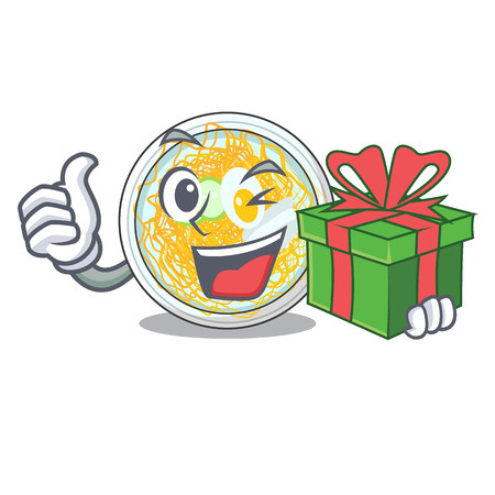 With gift naengmyeon isolated with in the character vector illustration