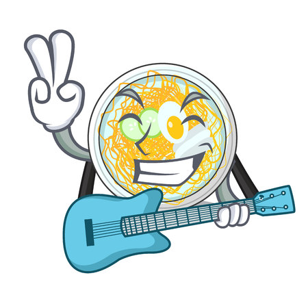 With guitar naengmyeon isolated with in the character vector illustration Vettoriali