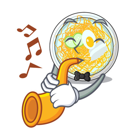 With trumpet naengmyeon isolated with in the character vector illustration Vettoriali