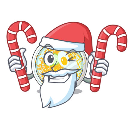 Santa with candy naengmyeon in the a shape cartoon vector illustration