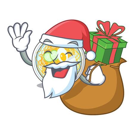 Santa with gift naengmyeon in the a shape cartoon vector illustration Ilustração