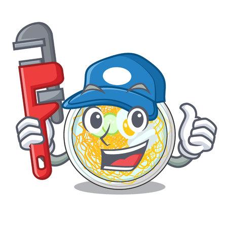 Plumber naengmyeon in the a shape cartoon vector illustration Ilustração