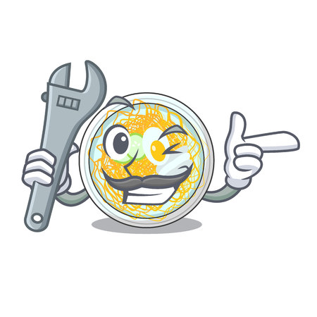 Mechanic naengmyeon in the a shape cartoon vector illustration