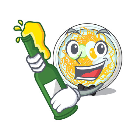 With beer naengmyeon in the a shape cartoon vector illustration