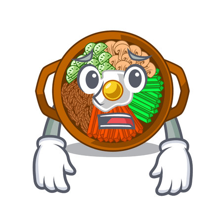 Afraid bowl of bibimbap in cartoon shape vector illustration Ilustração
