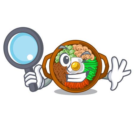 Detective bibimbap served on mascot hot pan vector illustration