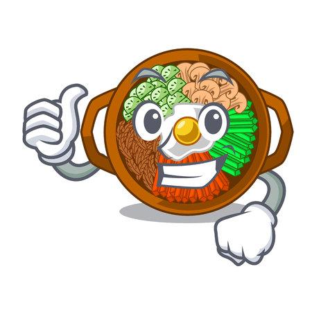 Thumbs up bibimbap served on mascot hot pan vector illustration