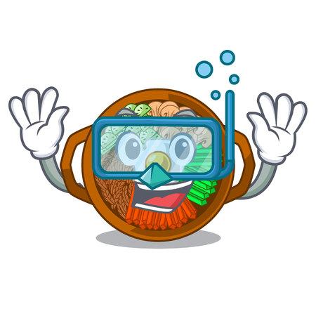 Diving bibimbap served on mascot hot pan vector illustration