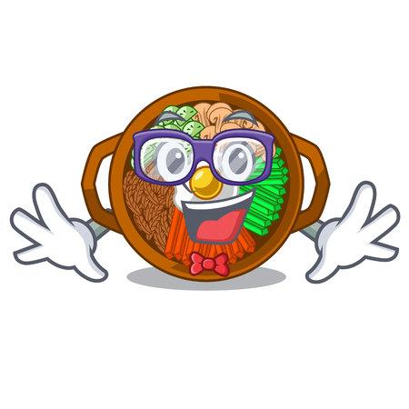 Geek bibimbap served on mascot hot pan vector illustration