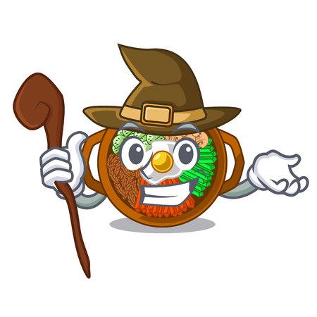 Witch bowl of bibimbap in cartoon shape vector illustration Illustration