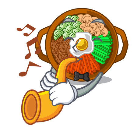 With trumpet bowl of bibimbap in cartoon shape vector illustration