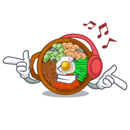 Listening music plate containing bibimbap cartoon on table vector illustration