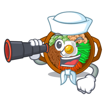 Sailor with binocular plate containing bibimbap cartoon on table vector illustration