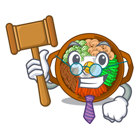 Judge plate containing bibimbap cartoon on table vector illustration