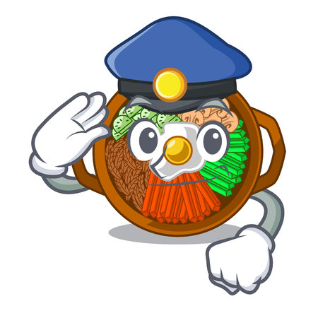 Police bibimbap isolated with in the character vector illustration