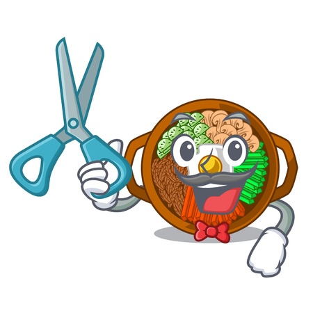 Barber bibimbap isolated with in the character vector illustration