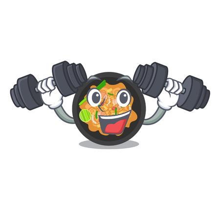 Fitness pat thai isolated in the cartoon vector illustration Ilustracja