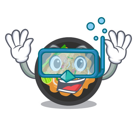 Diving pat thai served in character bowl vector illustration
