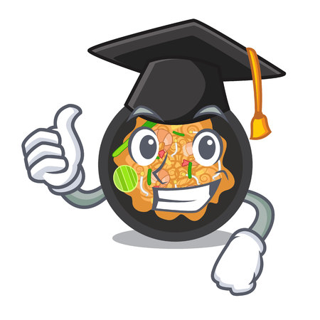 Graduation pat thai served in character bowl vector illustration