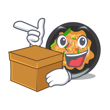 With box pat thai served in character bowl vector illustration