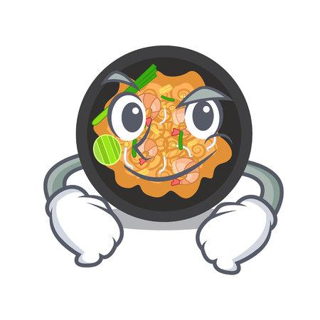Smirking pat thai served in character bowl vector illustration Ilustração