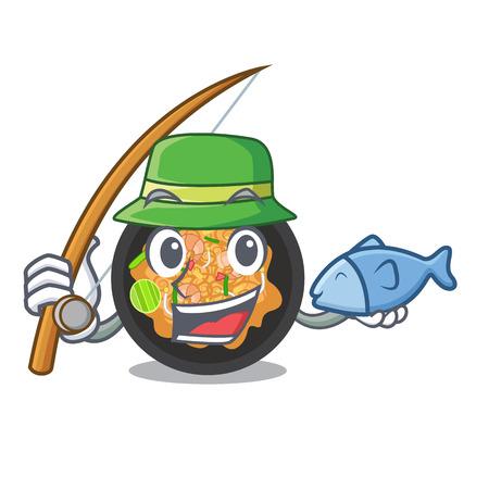 Fishing pad thai in the cartoon shape