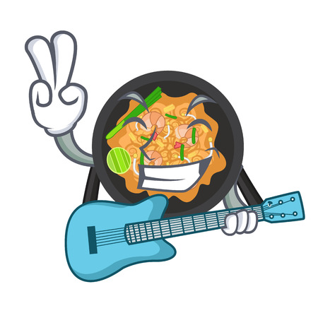 With guitar pad thai in the cartoon shape